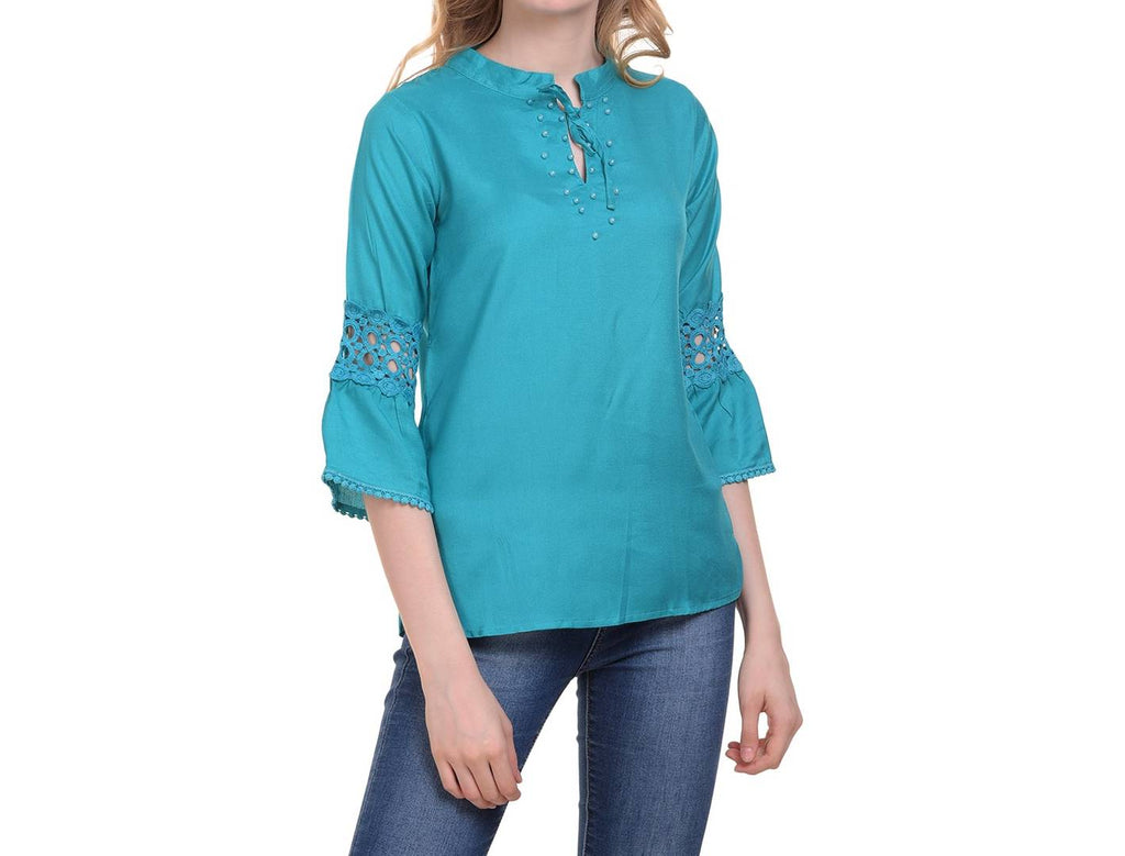 Turquoise Cotton Solid  Blouse Top - Zoopershop.com