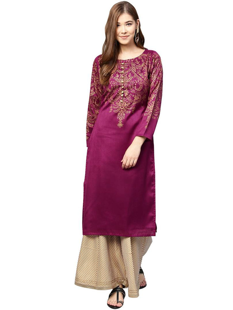 Purple Printed Straight Poly Silk Kurta