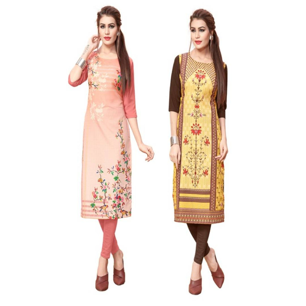 Multicoloured Crepe Printed Kurtas Combo of 2