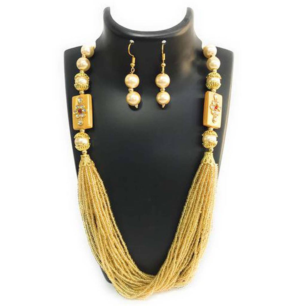 Golden Fabric American Diamond Jewllery Set