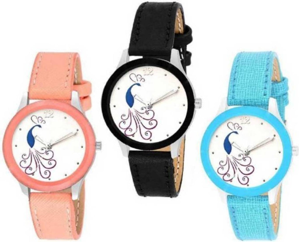 3 Watch Combo In Peacock Dial Synthetic Leather Strap For Women Watch