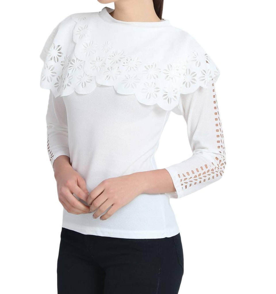 White Crepe Solid Blouse Top - Zoopershop.com