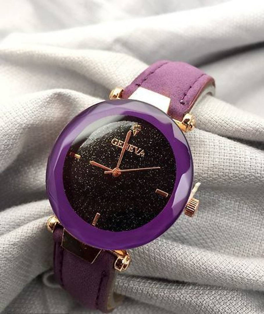 Purple Analog Watch With Synthetic Leather Strap