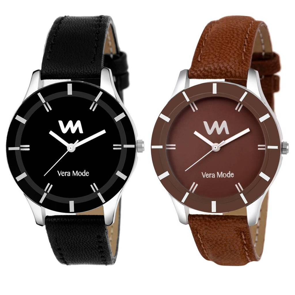 Combo of 2 Elan Collection Quartz Analog Black & Brown Dial Women's Watches