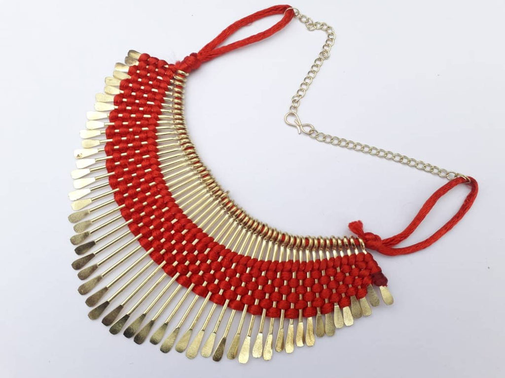 Red Fabric Tribal Necklace