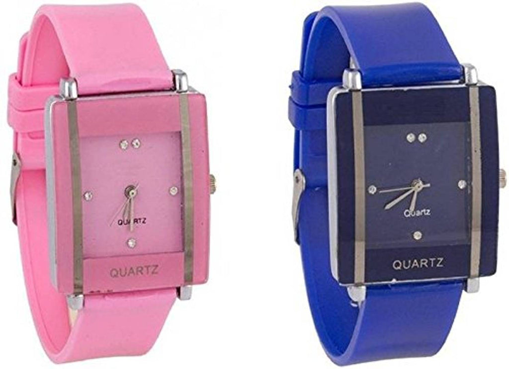 Combo Of 2 Pink-Blue Watch For Women