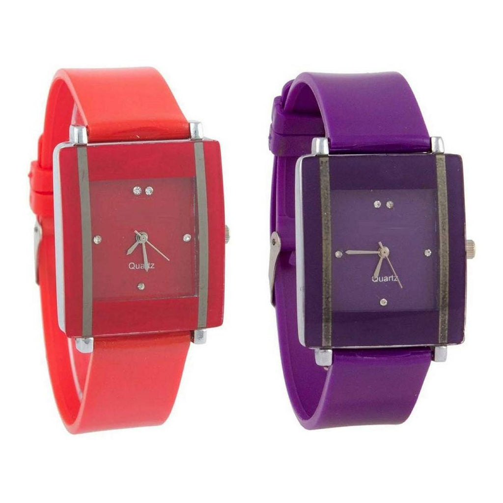 Combo Of 2 Red-Purple Watch For Women