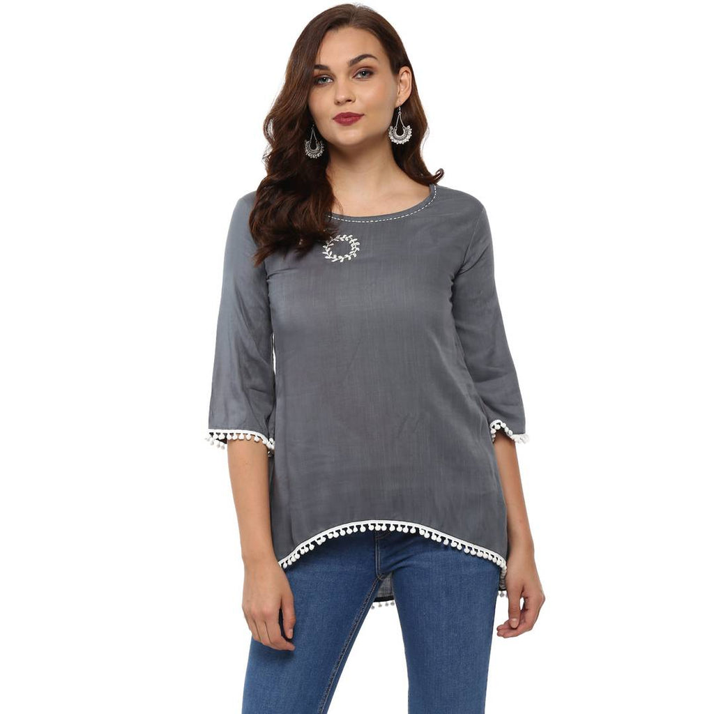 Women's/Girls Rayon Asymmetric Top - Zoopershop.com