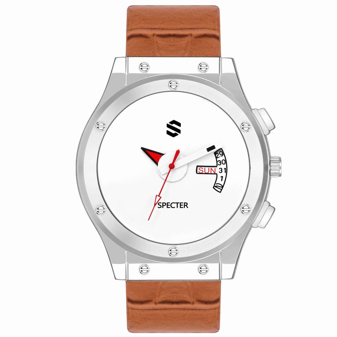 Brown Analog Watch With Synthetic Leather Strap