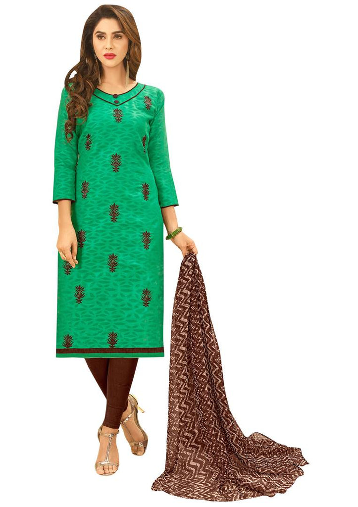 Sea Green Semi Stitched Embroidered Jacquard Dress Material