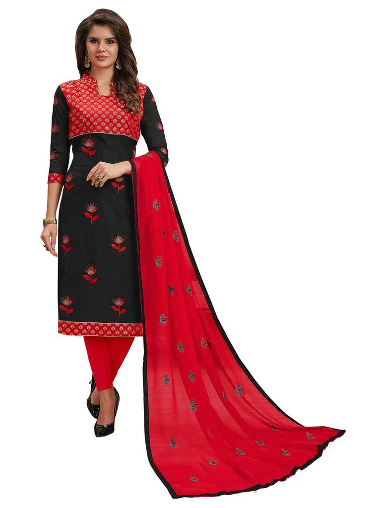 Multicolour Semi Stitched Embroidered Cotton Blend Dress Material