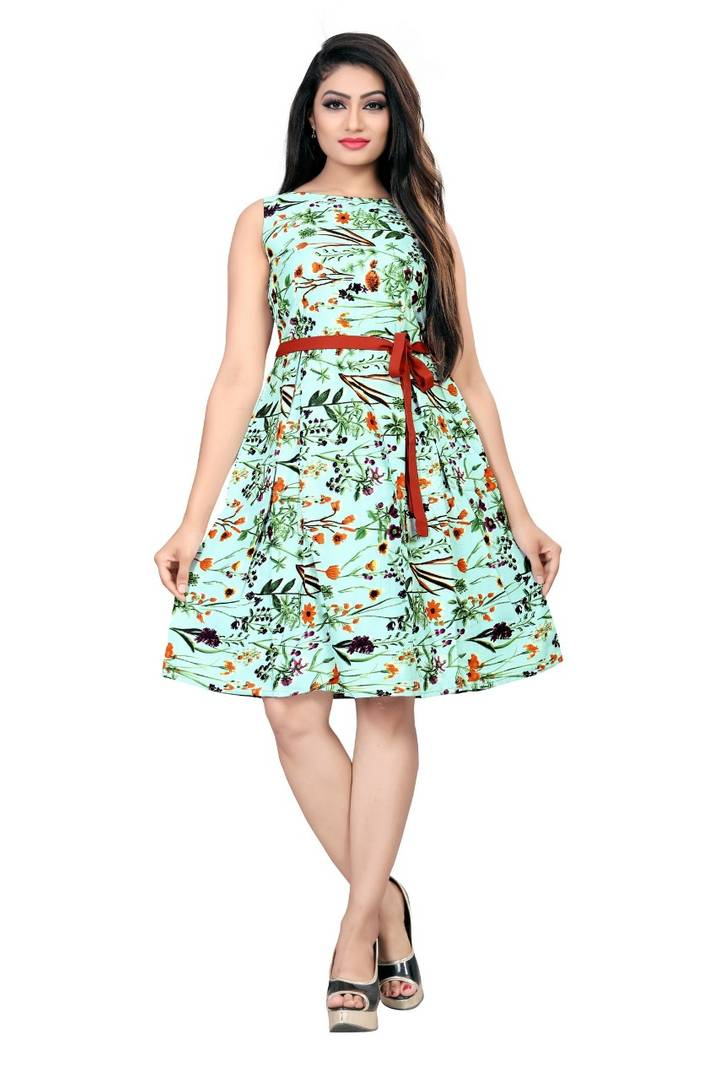 Green Crepe Printed Knee Length Frock - Zoopershop.com