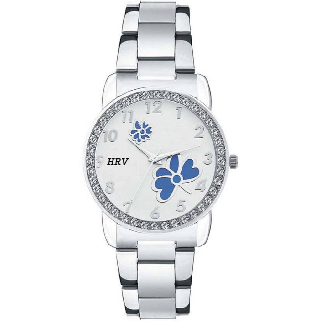 Women's Silver Analog Watch With Metal Strap
