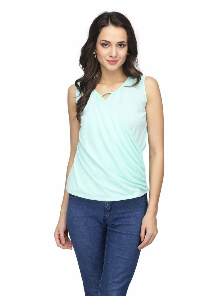 Turquoise Colour  Regular Length Viscose Rayon Casual  Tops - Zoopershop.com