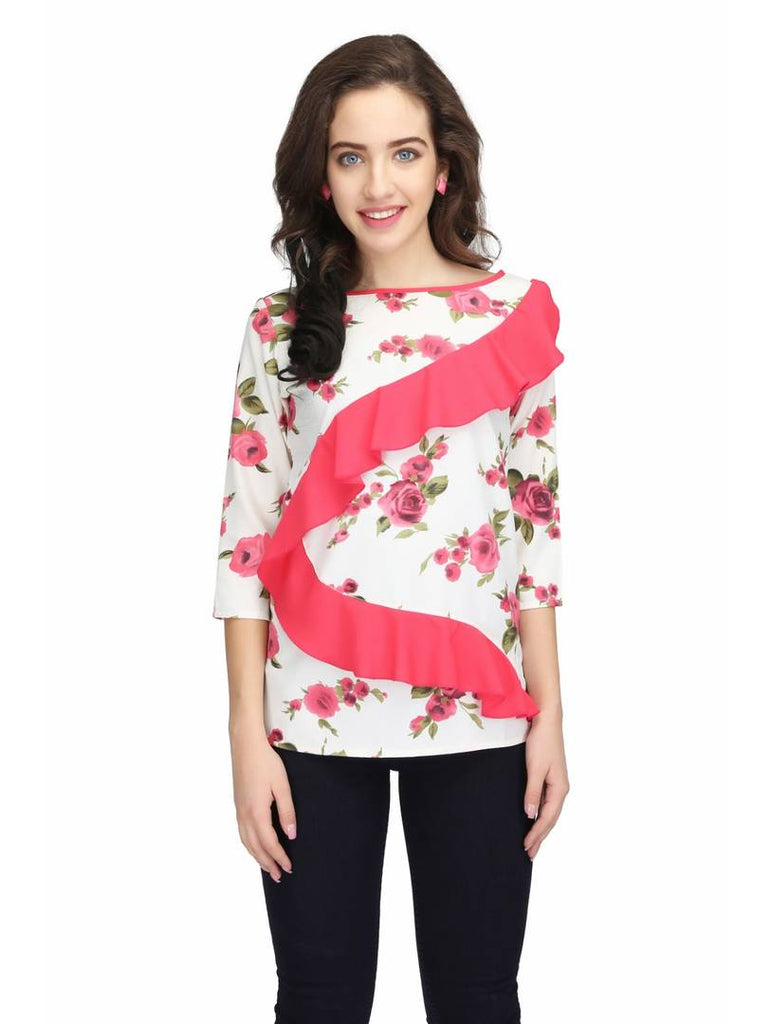 Multicoloured Colour  Regular Length Crepe Casual  Tops - Zoopershop.com
