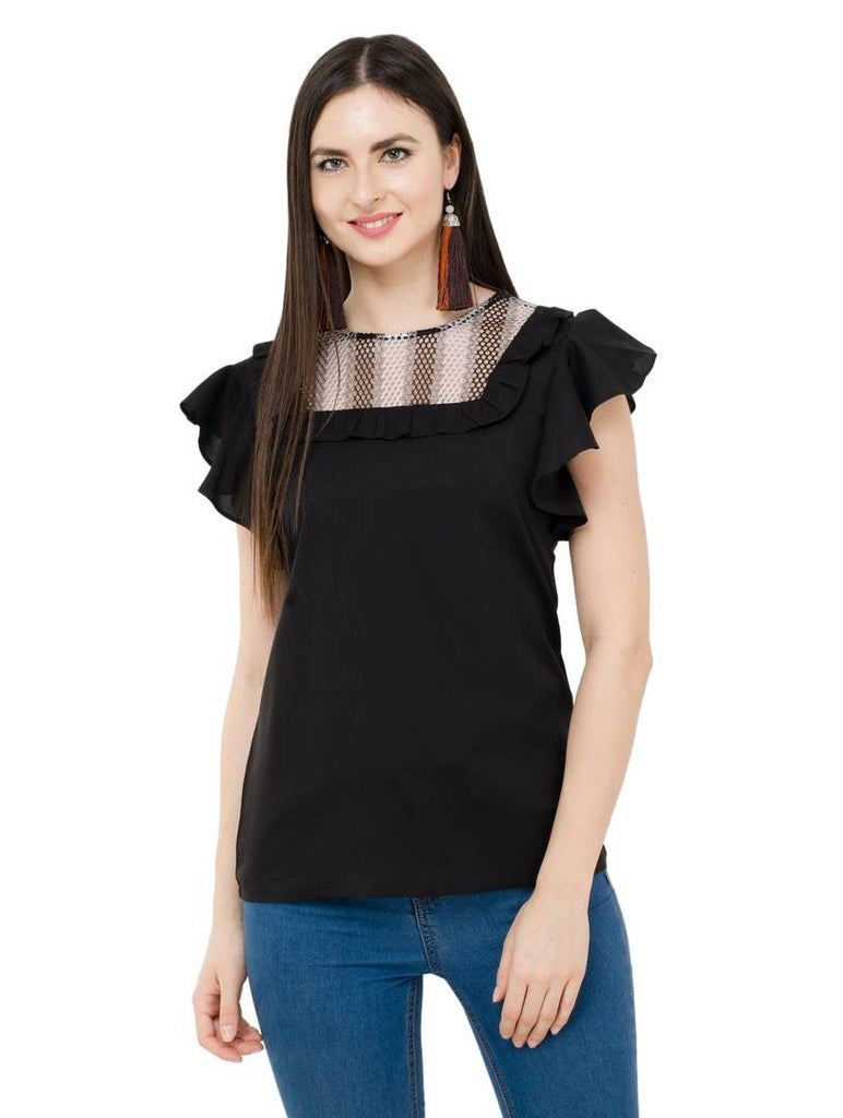 Black Colour  Regular Length Crepe Casual  Tops - Zoopershop.com