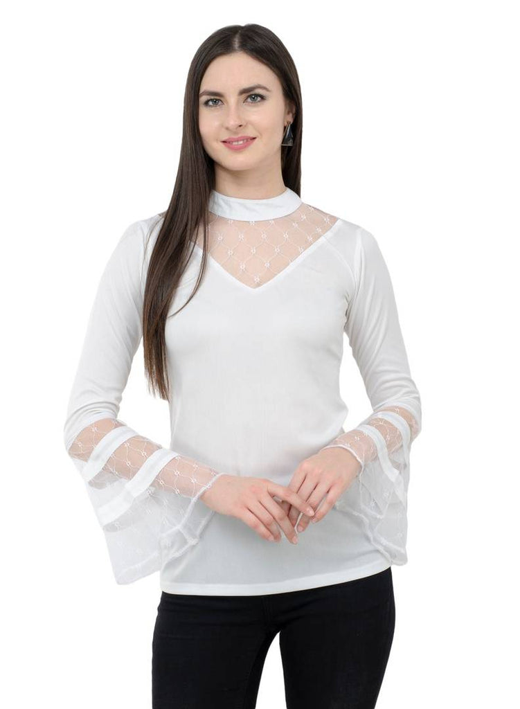 White Colour  Regular Length Polyester Casual  Tops - Zoopershop.com