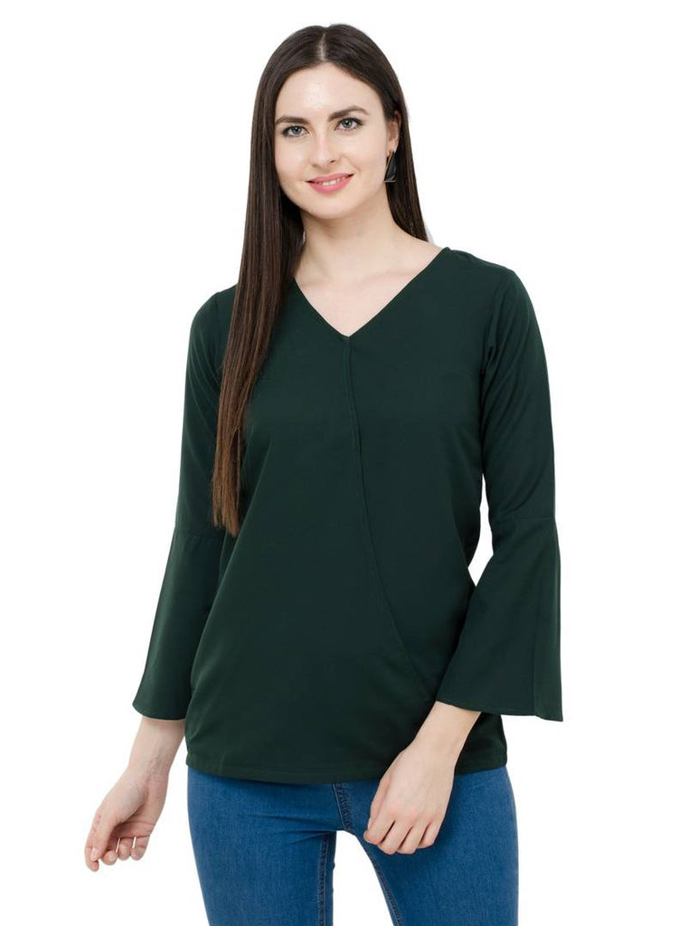Green Colour Regular Length Crepe Casual Top - Zoopershop.com
