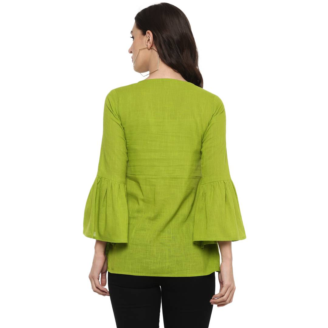 Green Colour Solid Regular Length Cotton Tops - Zoopershop.com