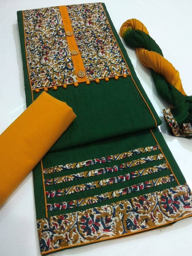Designer Handloom Kalamkari Print Cotton Dress Material with Dupatta