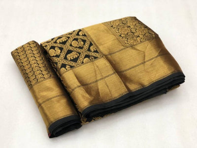 Beautiful Golden Color Banarasi Silk Saree With Blouse Piece