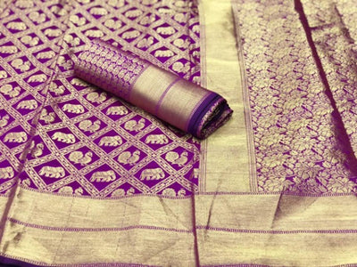 Beautiful Magenta Color Banarasi Silk Saree With Blouse Piece