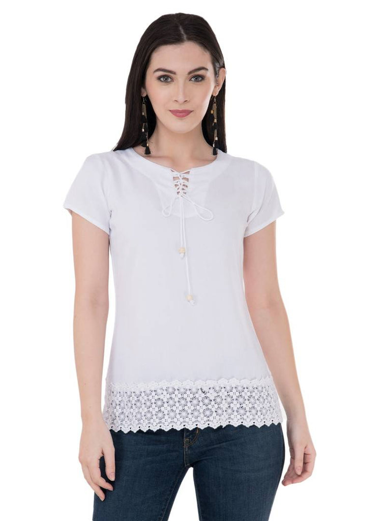Women's Rayon Off-White Top - Zoopershop.com