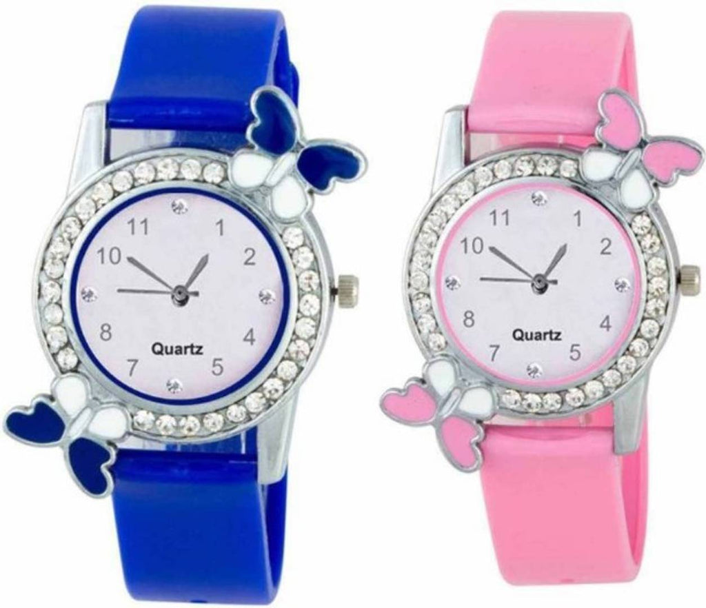 New Arrival Dual Batterfly With Diamond Blue And Pink Watch For Women