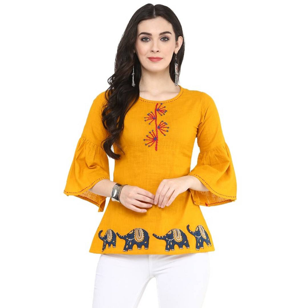 Women's Yellow Cotton Patch Work Top - Zoopershop.com