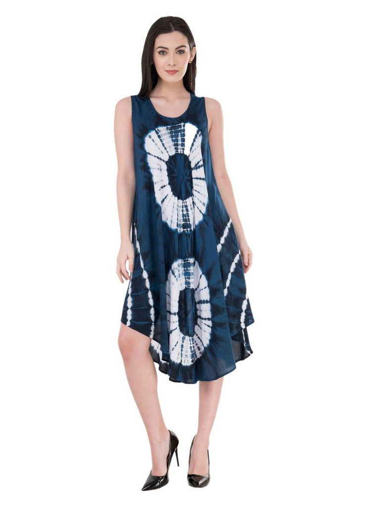 Women's Rayon Navy Blue Knee Length Dress - Zoopershop.com