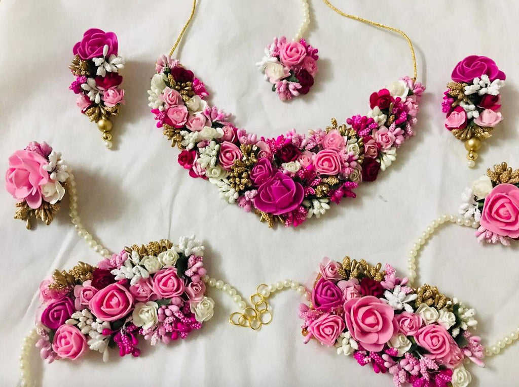 Pink Bridal Flower Jewellery Set with Earrings, Bracelet & Maang Tika
