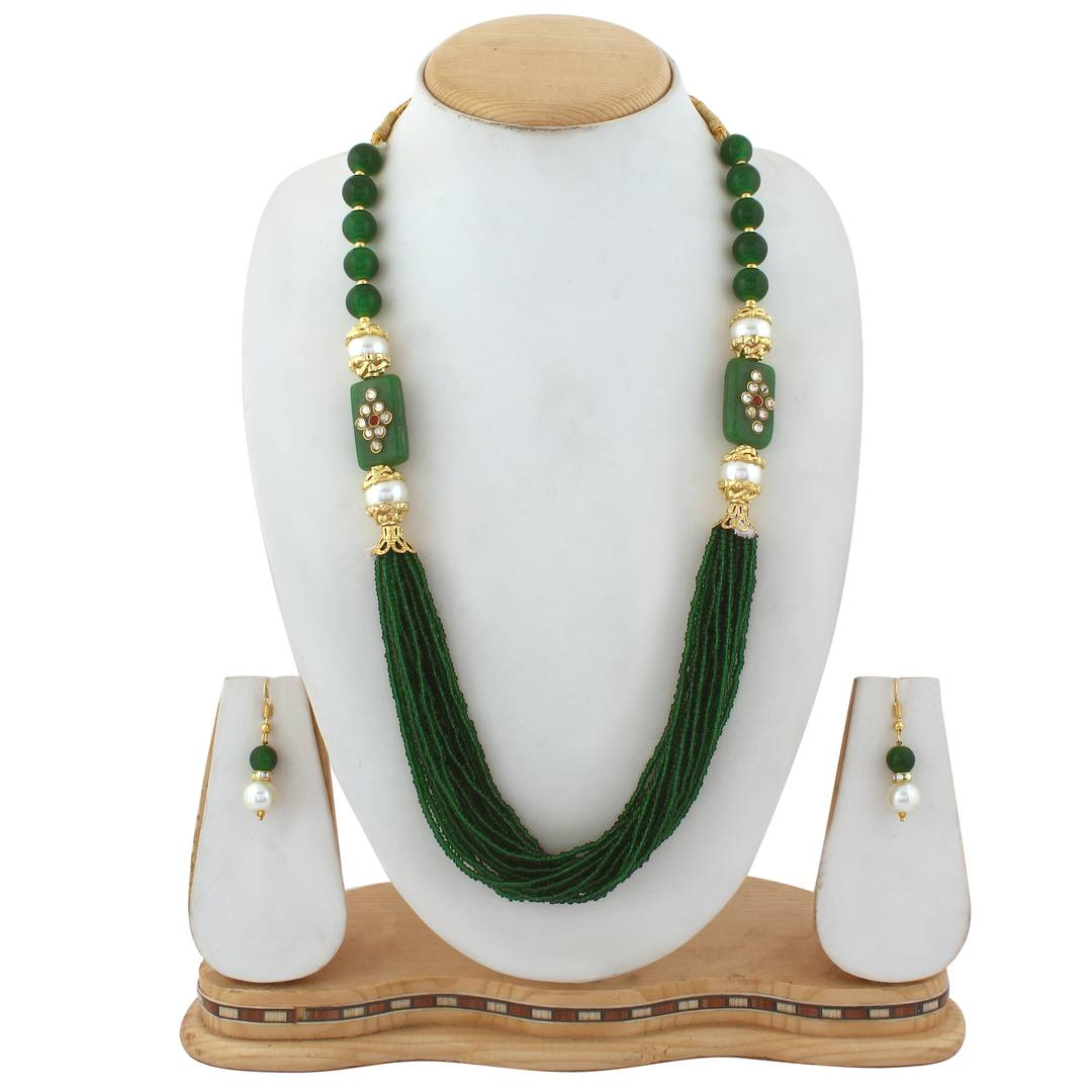 Green Glass beads necklace with Earring
