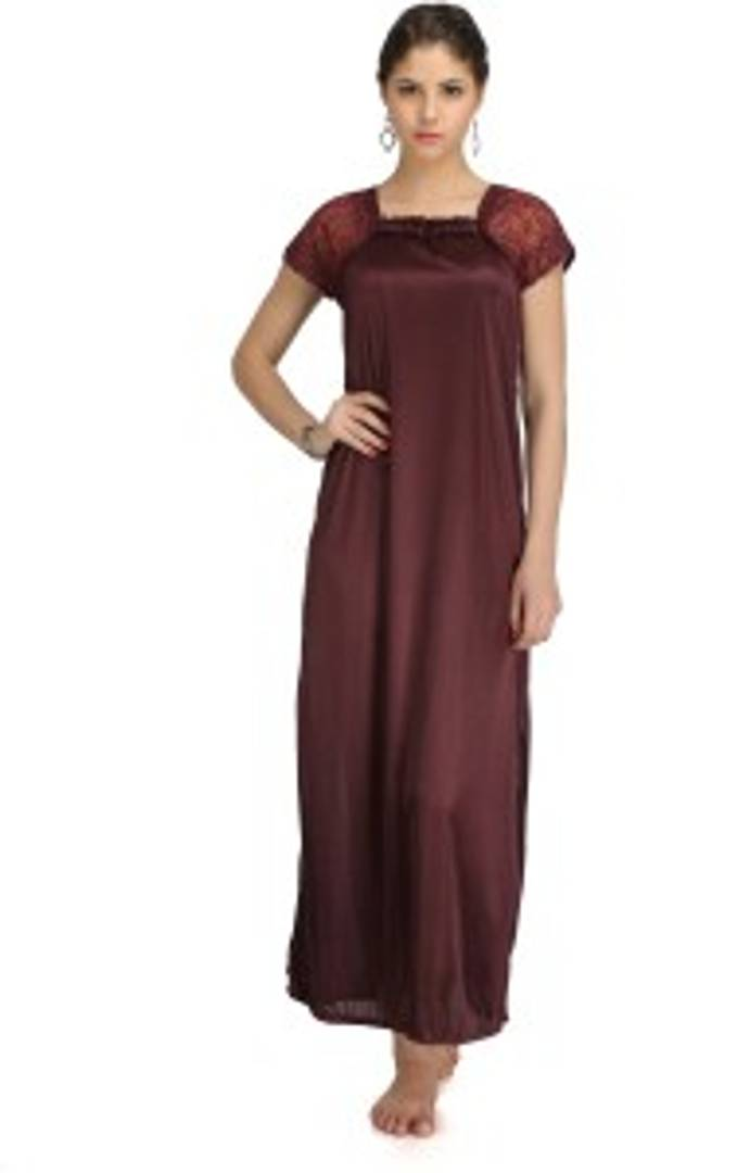 Women Satin Bridal Nighty Gown