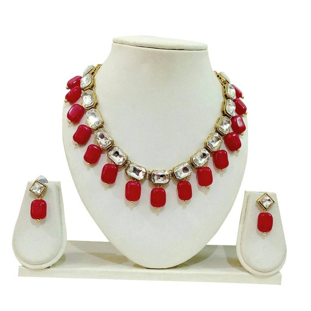 Kundan Square Stone Necklace set with Earring