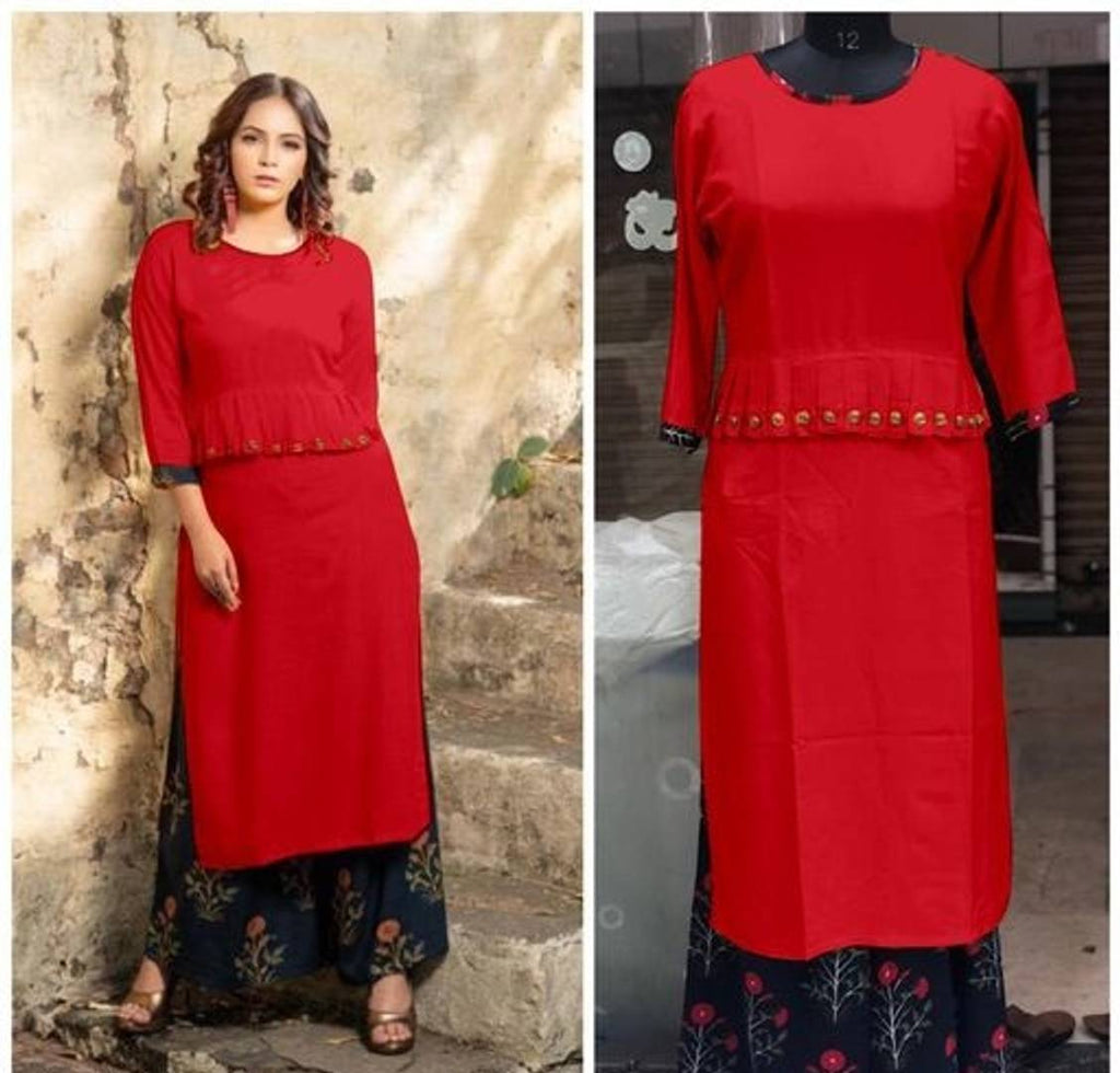 Red Solid Rayon Kurta with Bottom