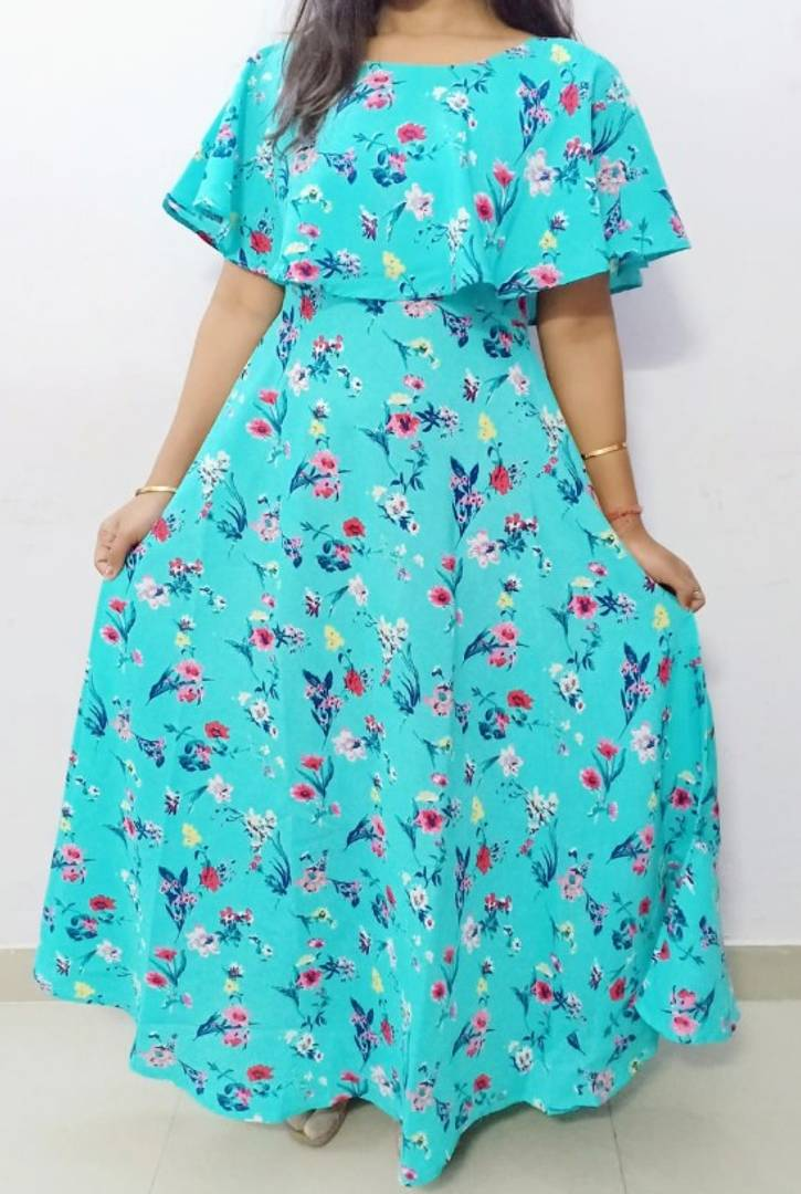 Crepe Maxi Lenght Dress For Womens And Girls - Zoopershop.com