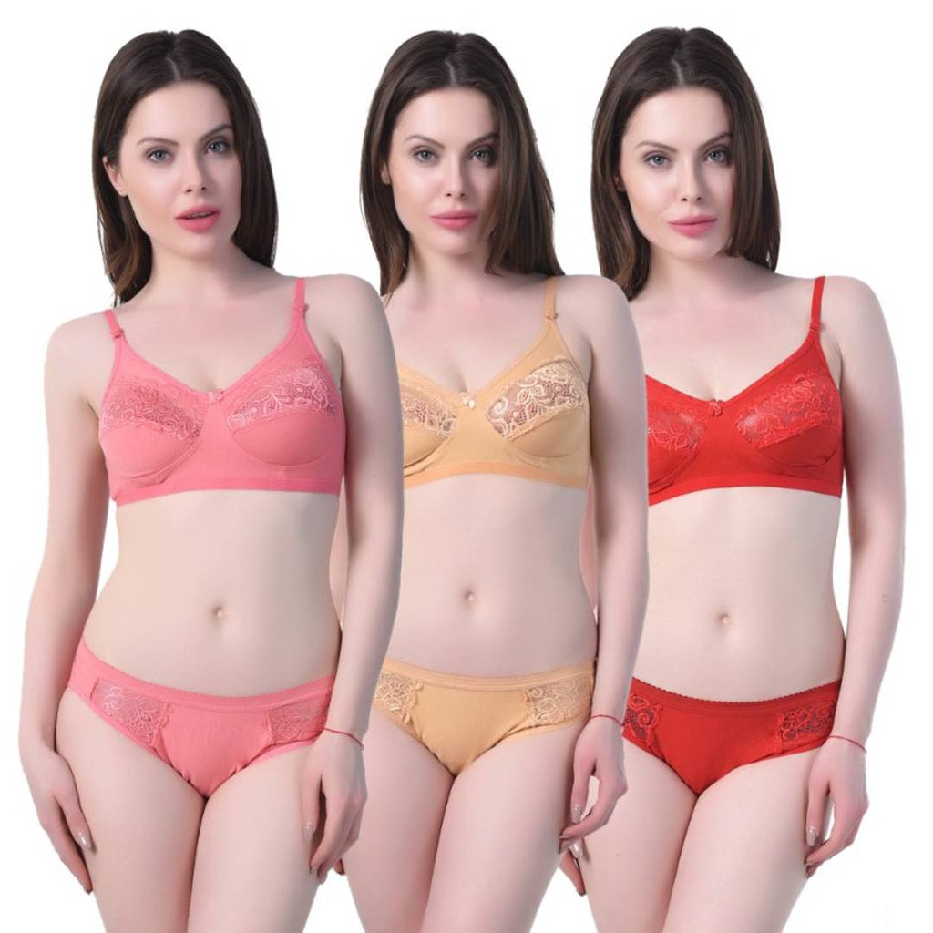 Comfortable and stylish Cotton Spandex Bra & Panty(Set of 3)