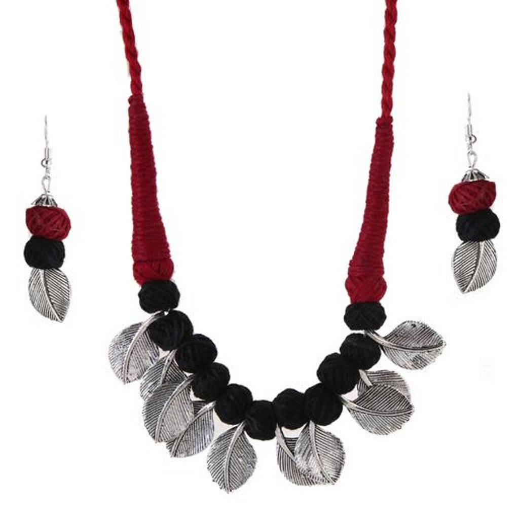 TANDRA'S Fashion OXIDISED OR German Silver Leaf Necklace Set for Women and Girls