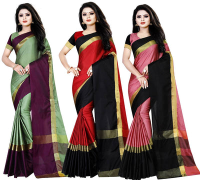 Stylish Cotton Silk Woven Design Multicoloured Saree with Blouse piece Combo of 3 Saree
