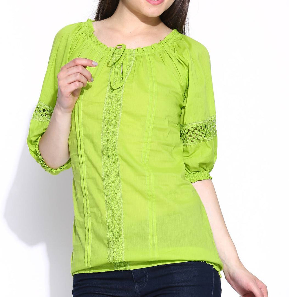 Green Solid Cotton Blouse Top Tees - Zoopershop.com