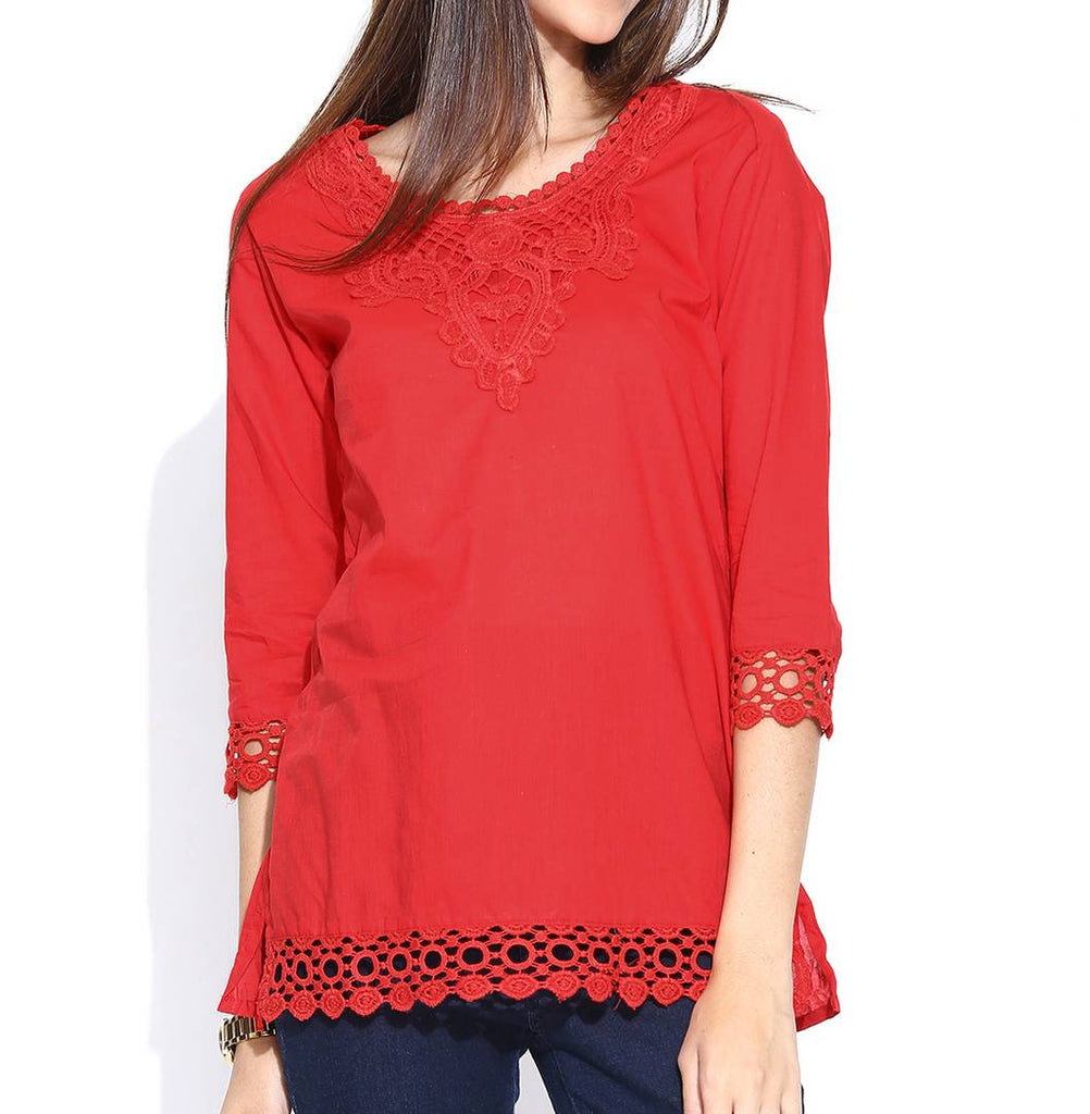Red Solid Cotton Blouse Top Tees - Zoopershop.com