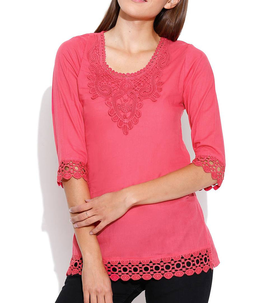 Pink Solid Cotton Blouse Top Tees - Zoopershop.com