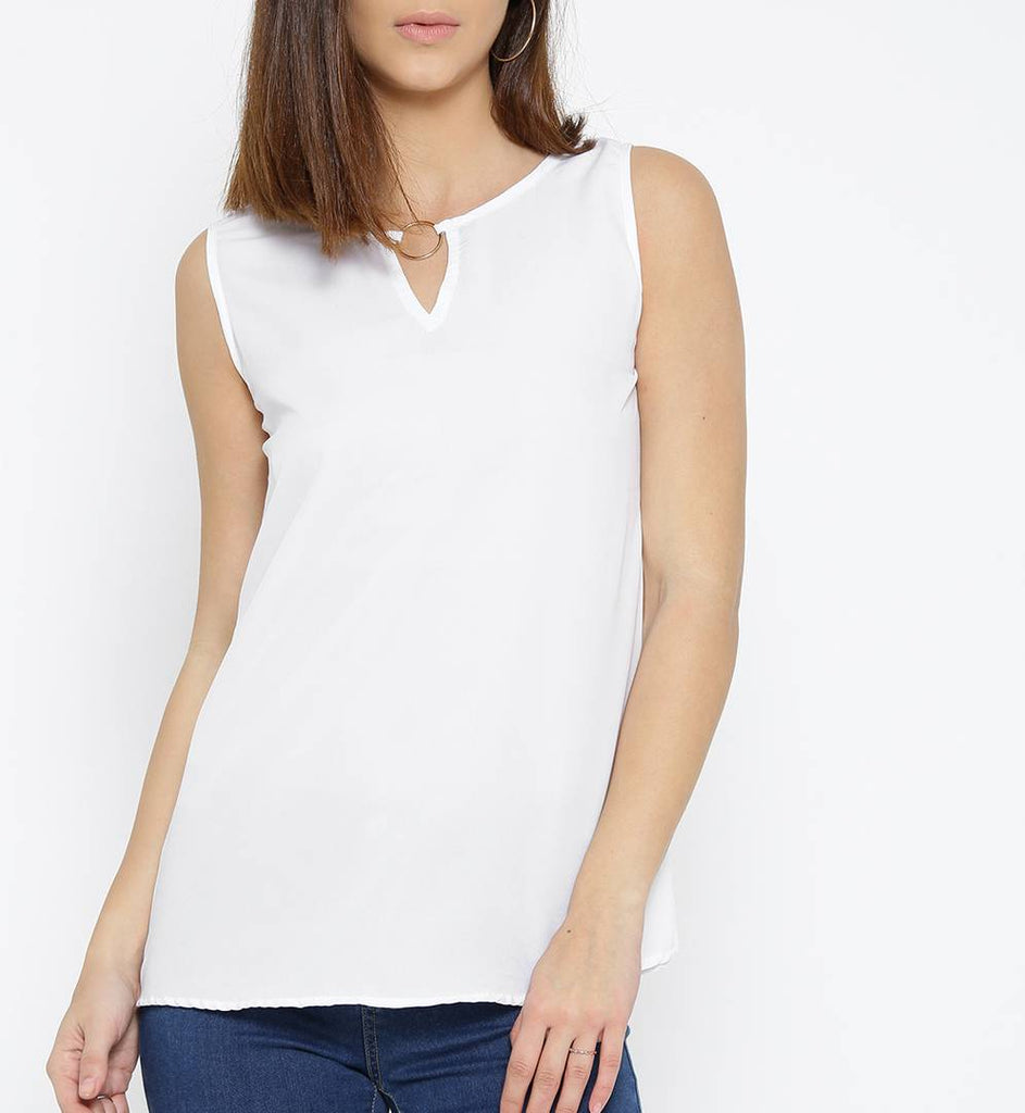 White Solid Polyester Blend Top - Zoopershop.com