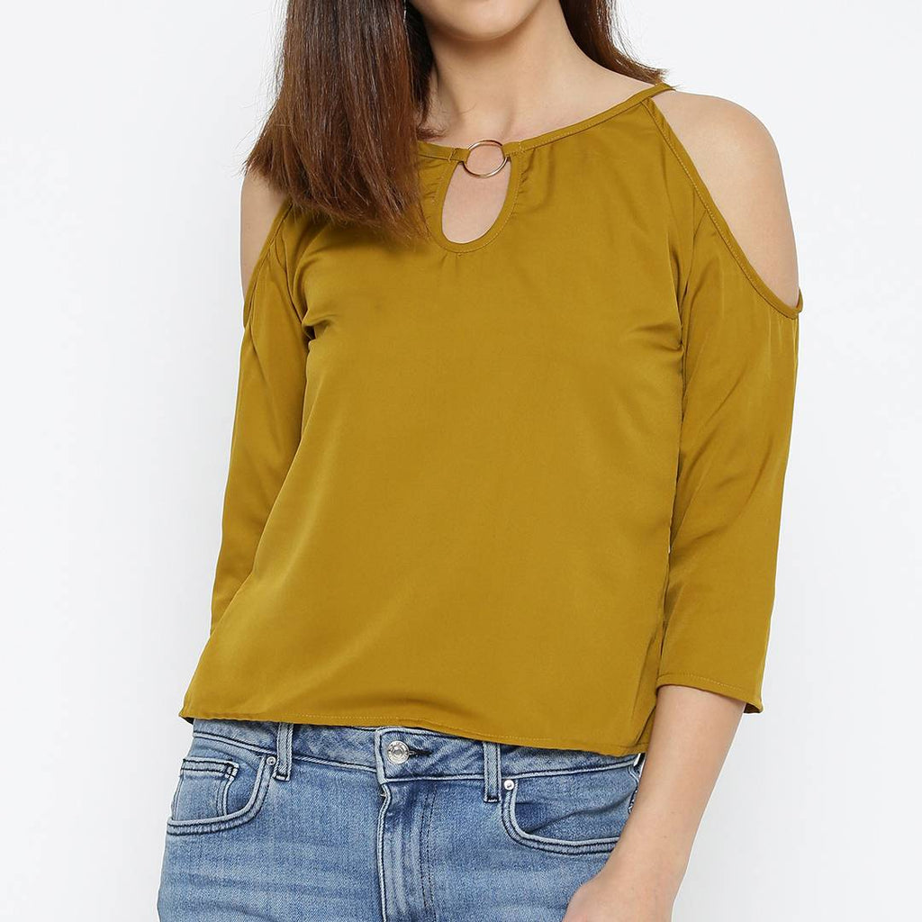 Yellow Solid Polyester Blend Blouse Top Tees - Zoopershop.com