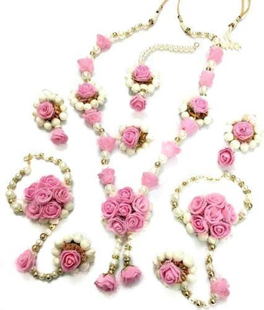 Non-Precious Metal Traditional Pink Flower Floral Jewellery with 1 Necklace, 2 Earrings, 1 Maang Tika, 2 Bracelets