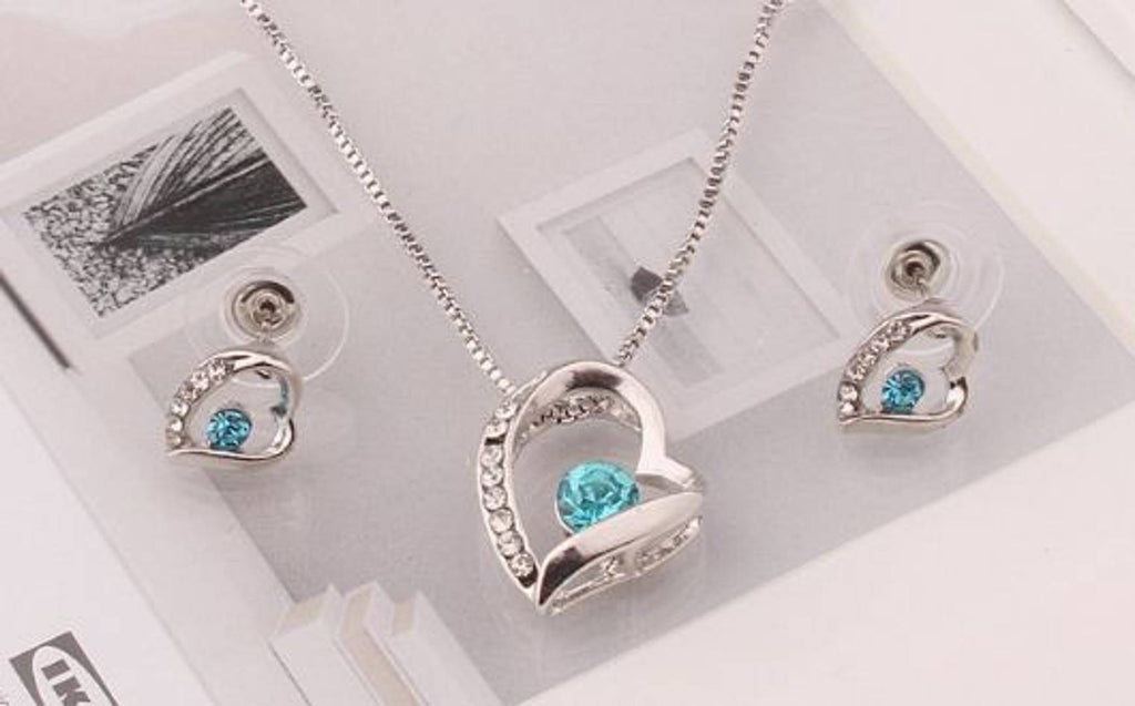 Silver Heart with Blue Diamond Jewellery Set For Womens