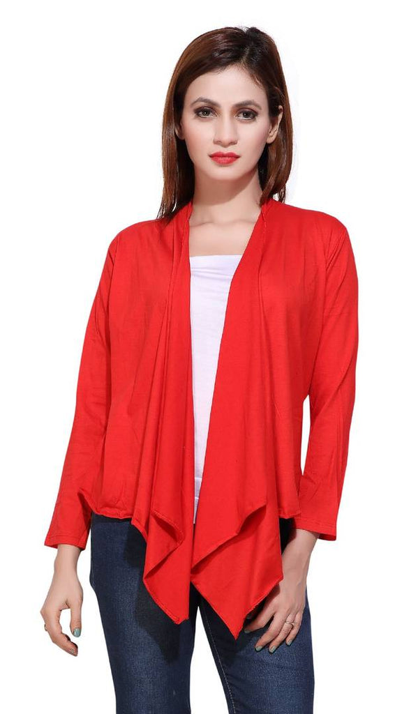 Red  Solid Viscose Rayon Shrugs for Women's