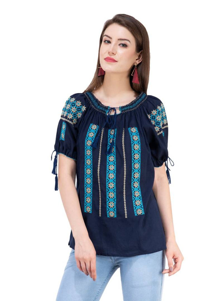 Women's Rayon Navy Blue Embroidered Top - Zoopershop.com