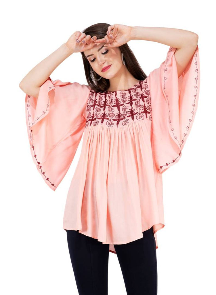 Women's Rayon Pink Embroidered Top - Zoopershop.com