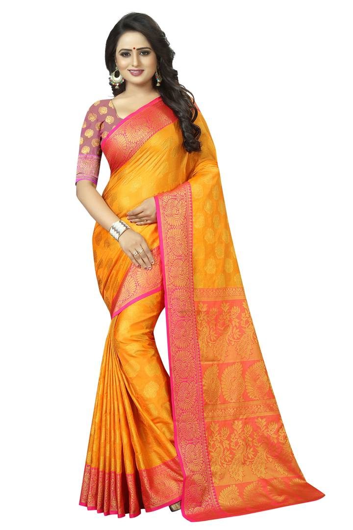 Yellow Self Pattern Cotton Banarasi Silk Saree With Blouse Piece
